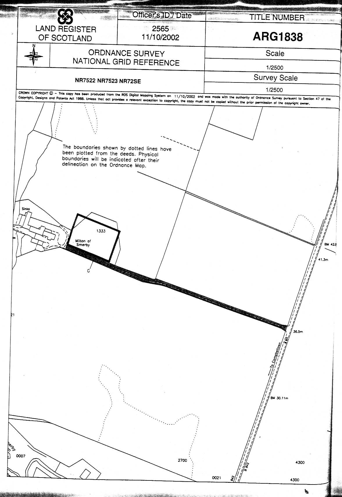 UPS - Milton of Smerby - TITLE PLAN - Land with enduring planning permission