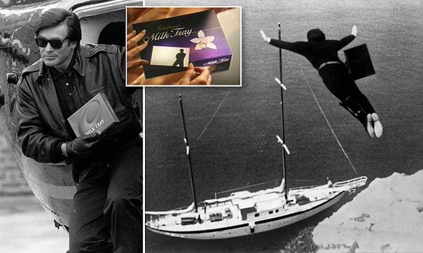 Graham Rogers, 42, jumps from a helicopter as the fourth man in black in the Cadbury's Milk Tray television commercial.