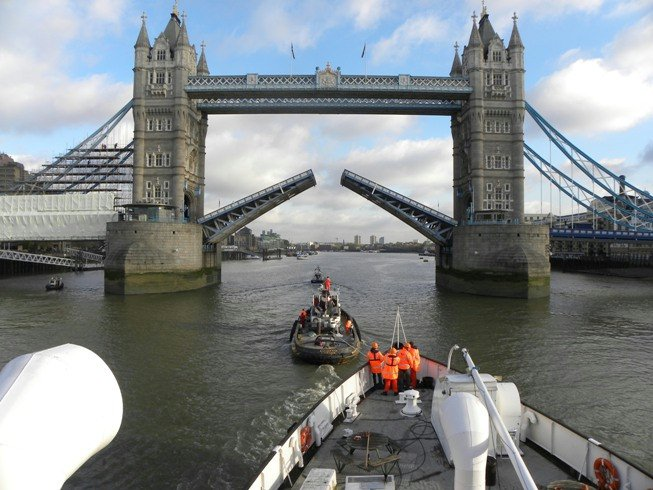 FOTSQM TS Queen Mary - Approaching Tower Bridge Photo By Richard Lane
